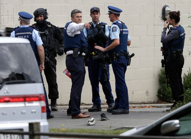 Police outside one of the mosques in New Zealand