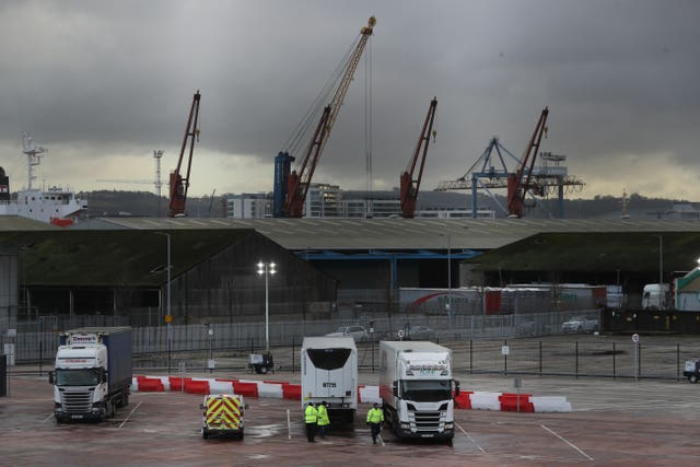 Lorries at the Department of Agriculture, Environment and Rural Affairs site near Belfast port