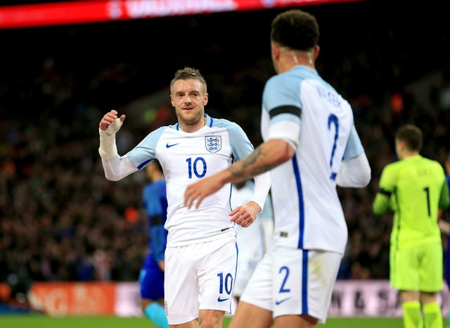 Jamie Vardy opened the scoring in the 2-1 defeat for Roy Hodgson's Three Lions.