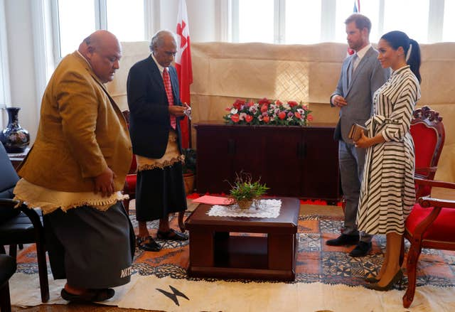 The Duke and Duchess of Sussex met Tongan prime minister Akilisi Pohiva