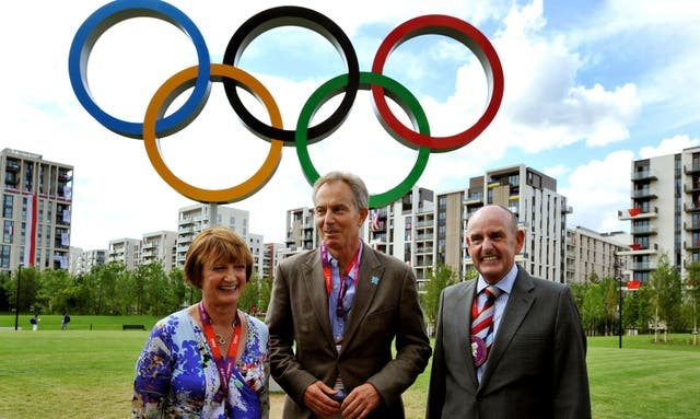Tessa Jowell with former PM Tony Blair and Sir Charles Allen, mayor of the Olympic Athletes village, during London 2012 (John Stillwell/PA)