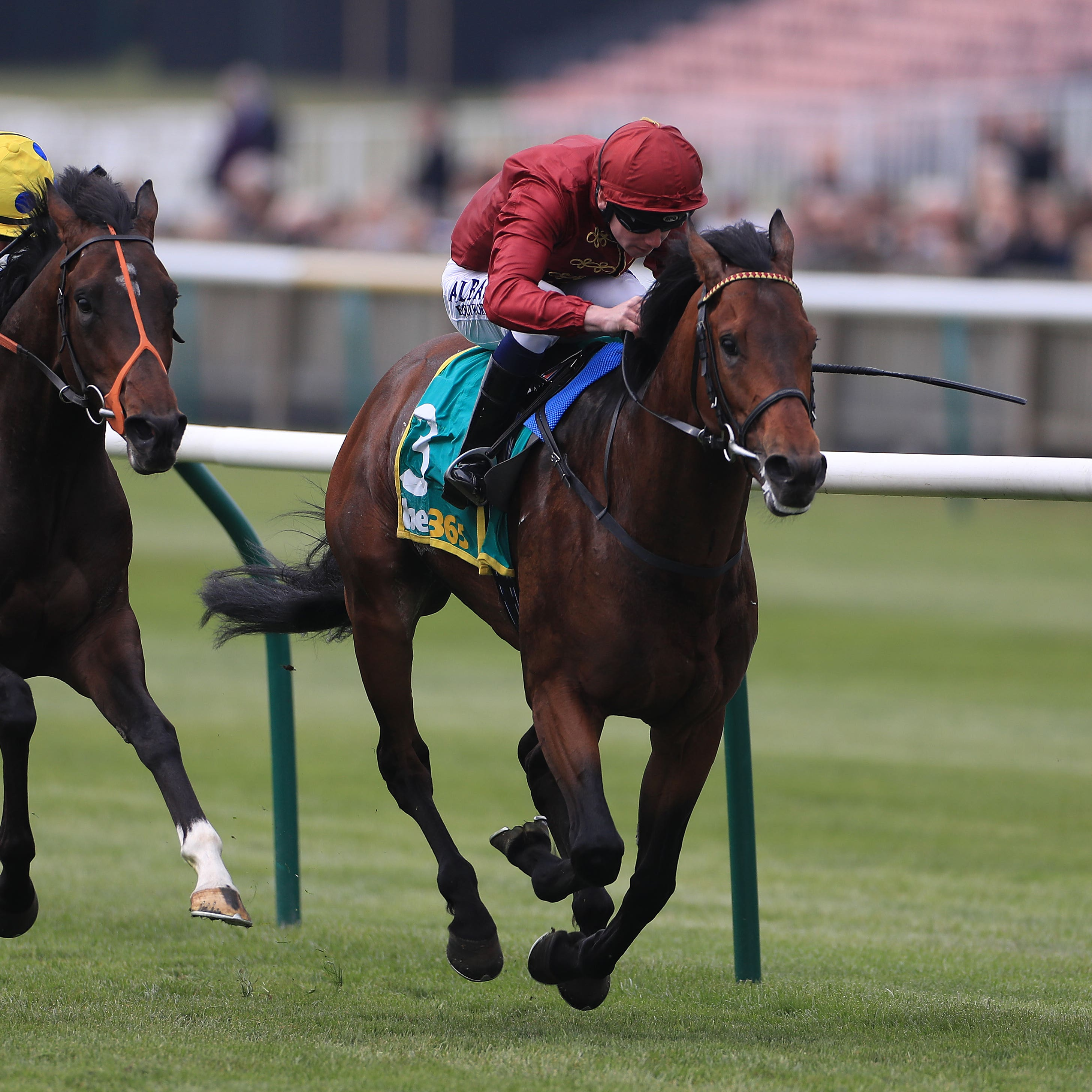 Kick On (right) won the Feilden Stakes at Newmarket