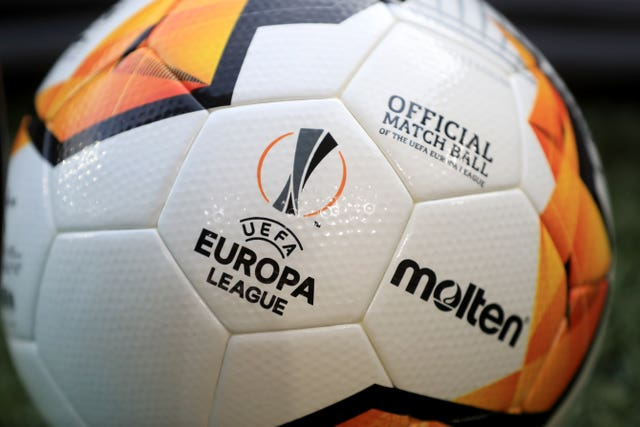A general view of a match ball prior to the UEFA Europa League round of 16 second leg