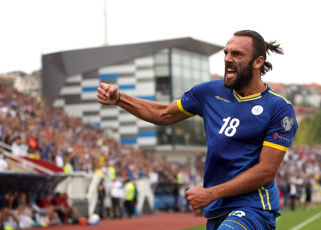 Vedat Muriqi celebrates Kosovo's opener in the win over the Czech Republic