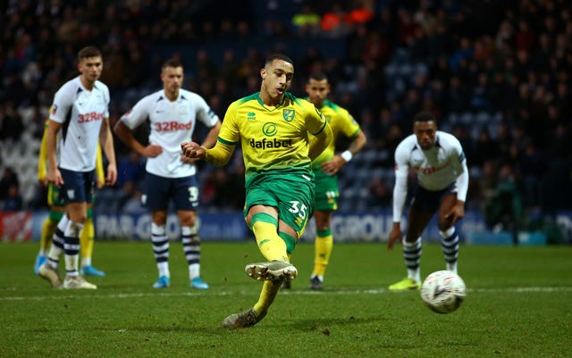 Norwich's Adam Idah completes his hat-trick from the penalty spot against Preston