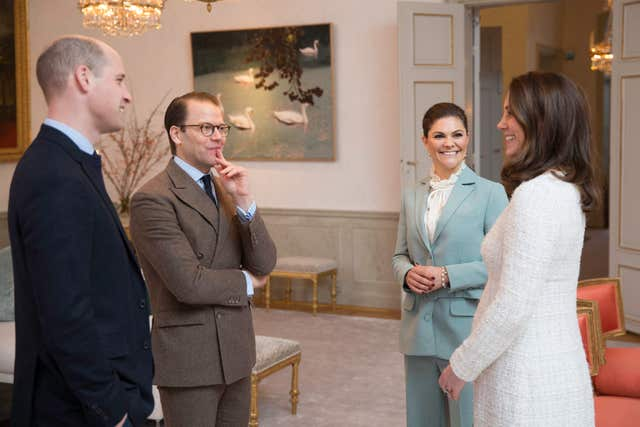 William and Kate talk with Crown Princess Victoria and Prince Daniel at Haga Palace in Stockholm (Raphael Stecksen/Royal Court Sweden)