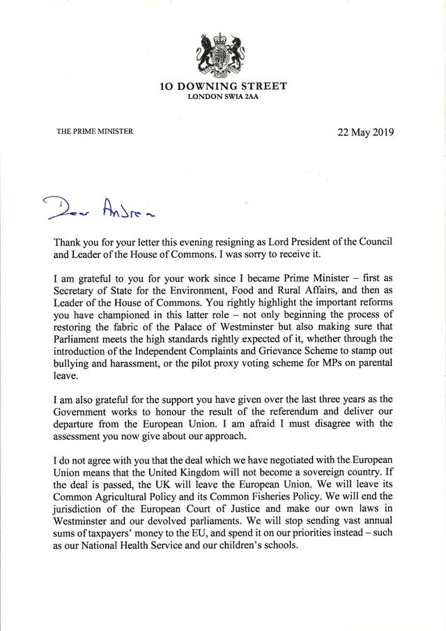 Page one of the reply from Prime Minister Theresa May to Andrea Leadsom