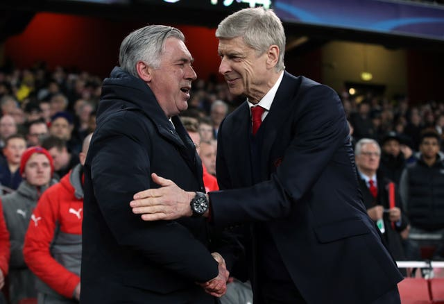 Carlo Ancelotti (left) has been one of the names linked with replacing Wenger