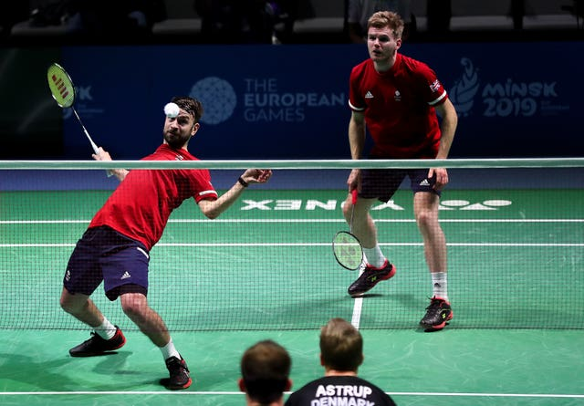 Chris Langridge, left, and Marcus Ellis in the European Games men's doubles badminton final