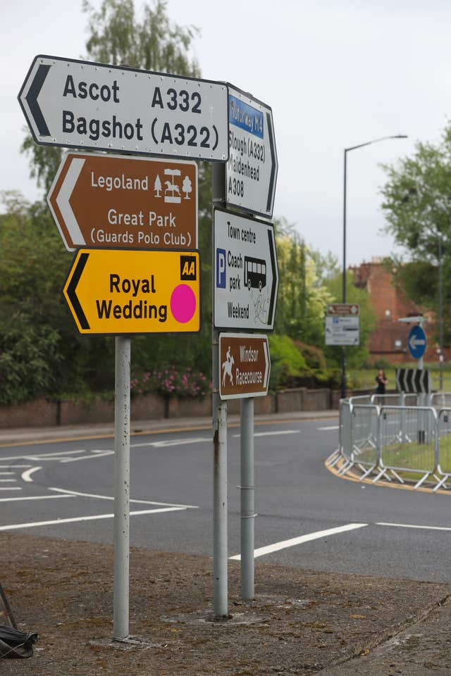 Temporary road signs in Windsor ahead of this weekend's royal event (Jonathan Brady/PA)