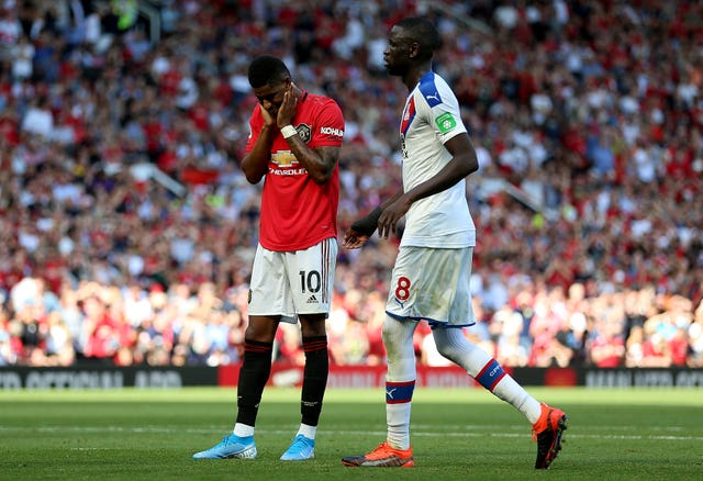 Marcus Rashford reacts after missing a penalty in Manchester United's home defeat to Crystal Palace