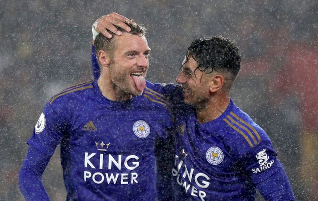 Jamie Vardy, left, and Ayoze Perez celebrate during Leicester's 9-0 win over Southampton in October