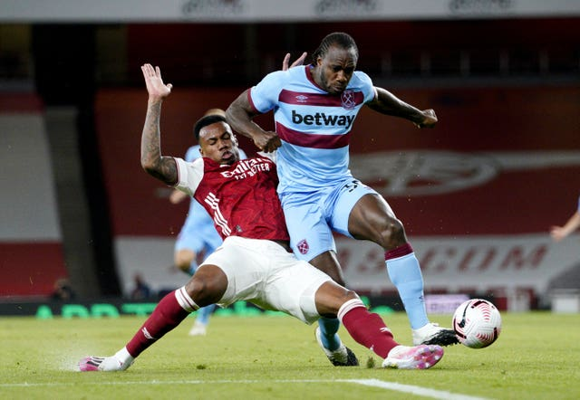 Michail Antonio, right, had equalised for West Ham