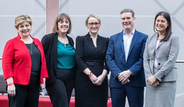 Labour leadership candidates (left to right) Emily Thornberry, Jess Phillips, Rebecca Long-Bailey, Sir Keir Starmer and Lisa Nandy (