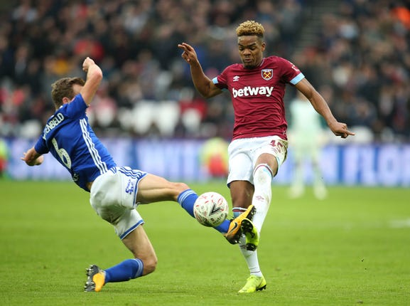 West Ham United forward Grady Diangana, right, is set to join former boss Slaven Bilic at West Brom