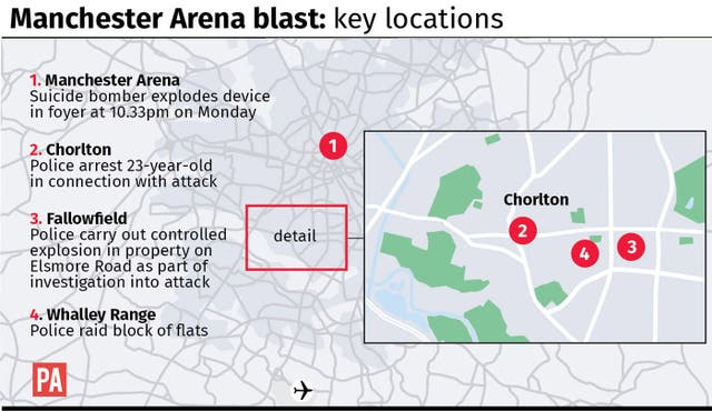 Manchester Arena blast: key locations (PA Graphics)