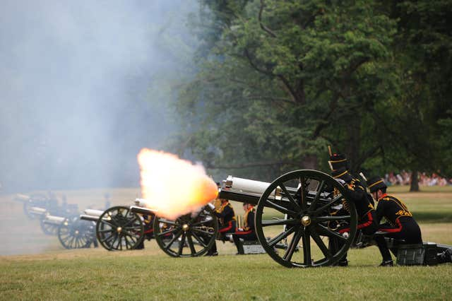 The King's Troop Royal Horse Artillery firing a gun salute to welcome the birth of Prince George in 2013 (PA)