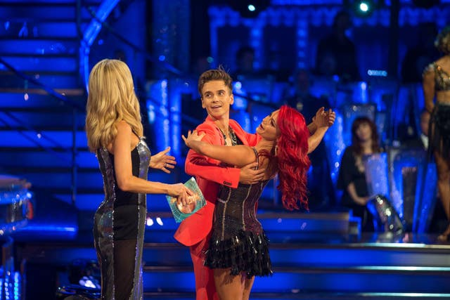 Tess Daly (left), with Joe Sugg and Dianne Buswell