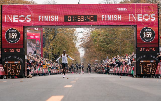 Eliud Kipchoge set a sub two-hour marathon time with the aid of an army of pacemakers