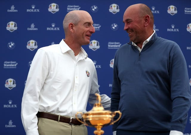 United States captain Jim Furyk (left) is looking to keep the Ryder Cup out of the hands of Europe counterpart Thomas Bjorn by retaining the trophy in Paris.