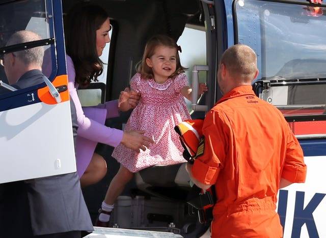 Princess Charlotte on a helicopter before the Royal party departed from Hamburg (Jane Barlow/PA)