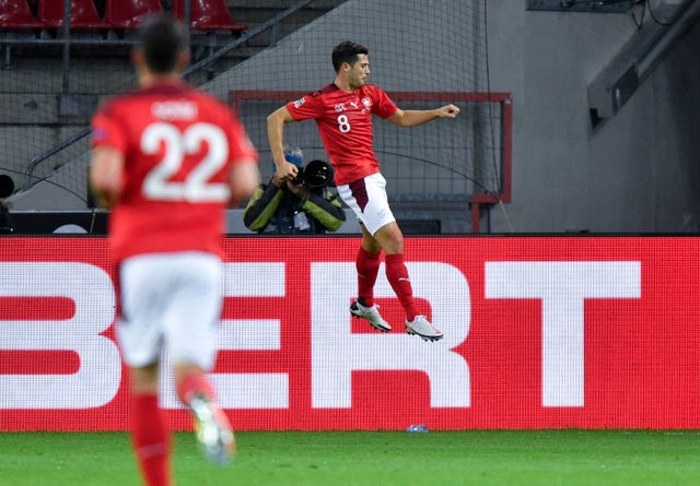 Remo Freuler celebrates his goal against Germany.