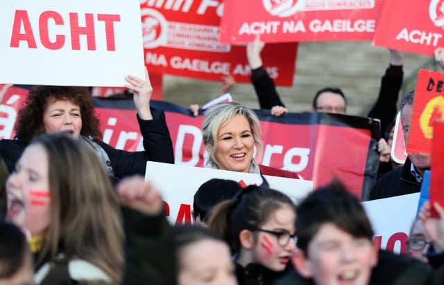Sinn Fein leader in Northern Ireland Michelle O'Neill joins Irish language act campaigners (Brian Lawless/PA)