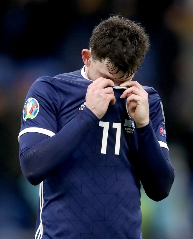 Scotland's Oliver Burke looks dejected after the defeat to Kazakhstan