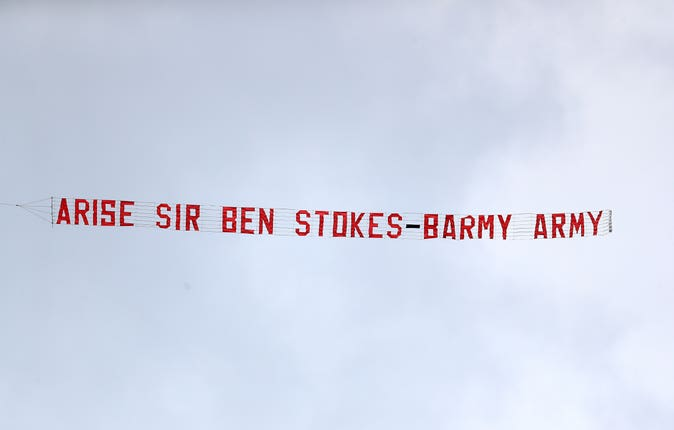 A small aeroplane flew over Edgbaston with a message for Ben Stokes