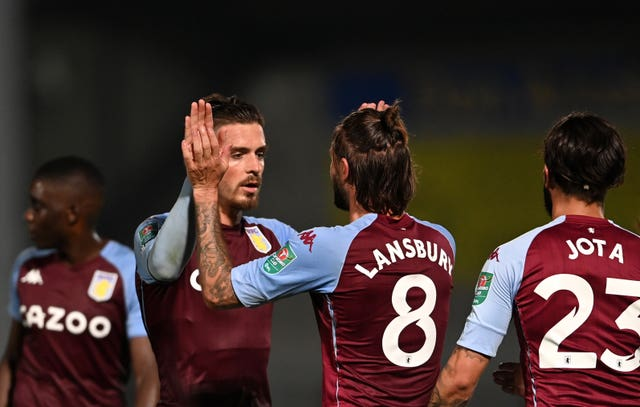 Jack Grealish celebrates putting Aston Villa in front late on