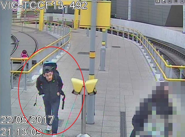 A CCTV image of Salman Abedi at Victoria Station making his way to the Manchester Arena on May 22 2017