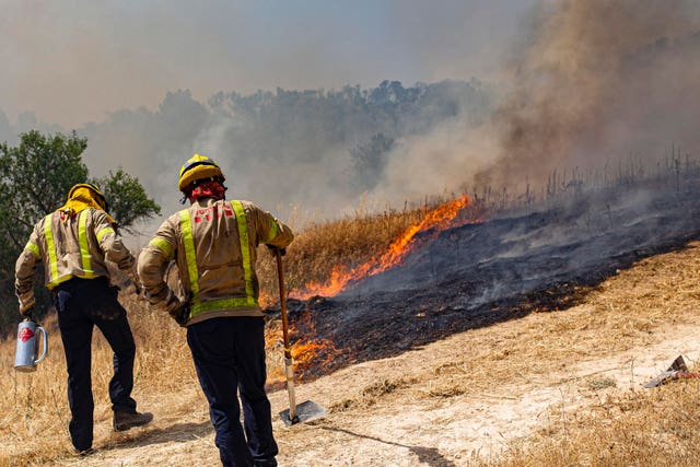 Firefighters tackle a wildfire near Tarragona
