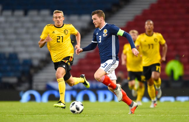 Andy Robertson was rarely on the front foot at Hampden