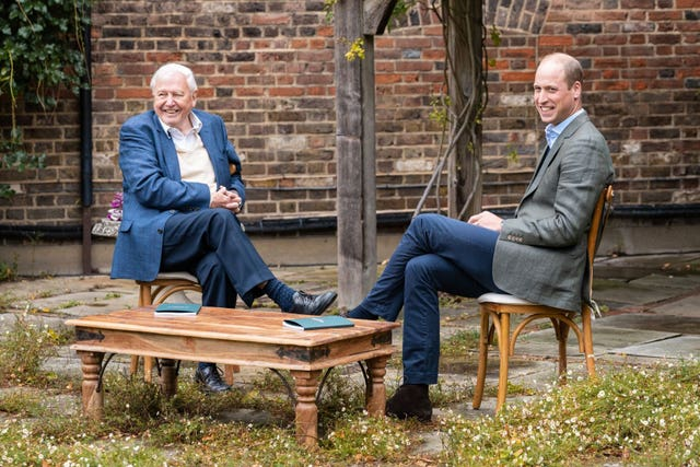 William with Sir David Attenborough, a member of the Earthshot Prize Council