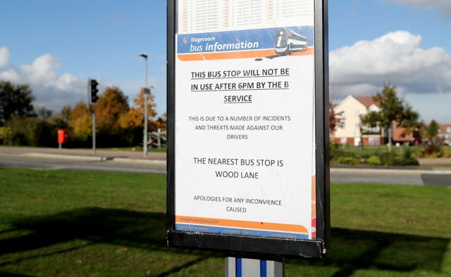 A bus stop on the Bridgefield Estate in Ashford, Kent