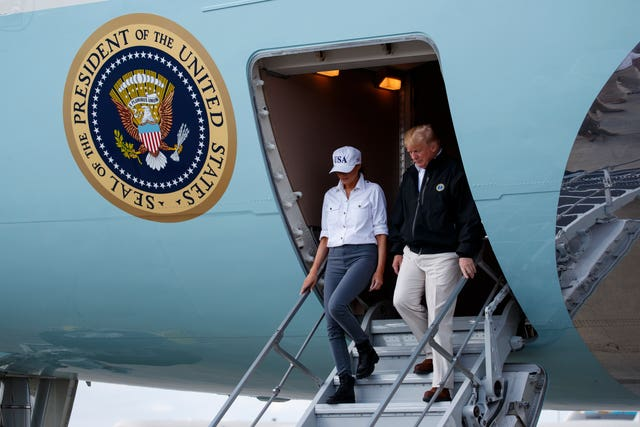 Donald Trump leaves Air Force One
