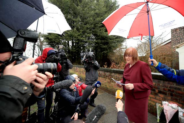 Lady Anne gives a statement outside her Liverpool home (Peter Byrne/PA)