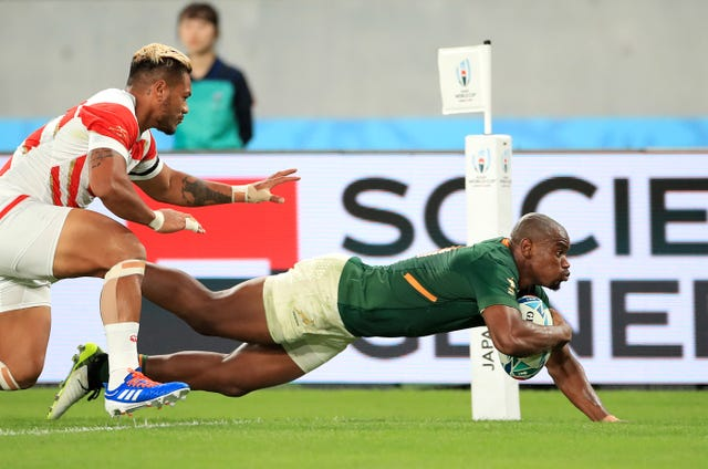 South Africa's Makazole Mapimpi crossed twice against Japan (Adam Davy/PA).