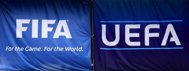 Fifa and Uefa flags