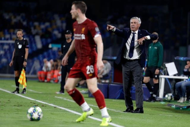 Napoli head coach Carlo Ancelotti wants to reach the group stages