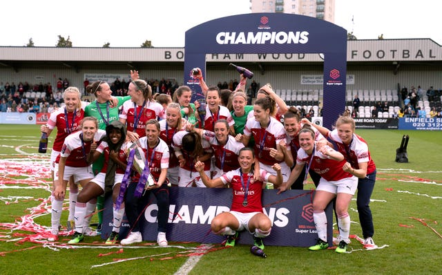 Arsenal celebrate their 2019 WSL title