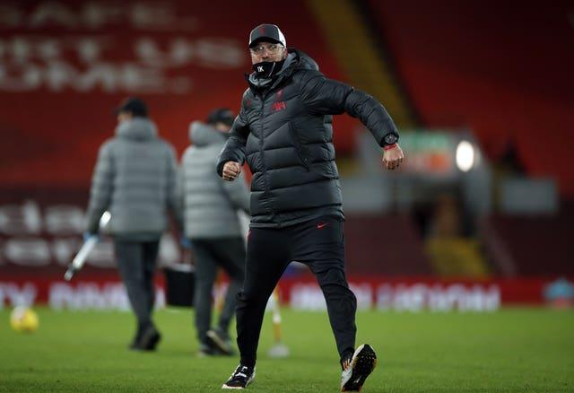 Jurgen Klopp celebrates Liverpool's recent home win over Tottenham