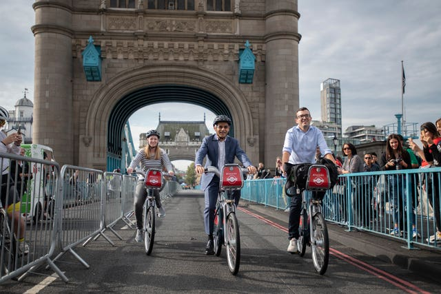 Sadiq Khan cycling on Tower Bridge