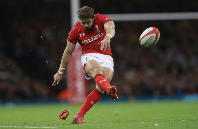 Wales Leigh Halfpenny kicks for goal before his concussion injury against Australia