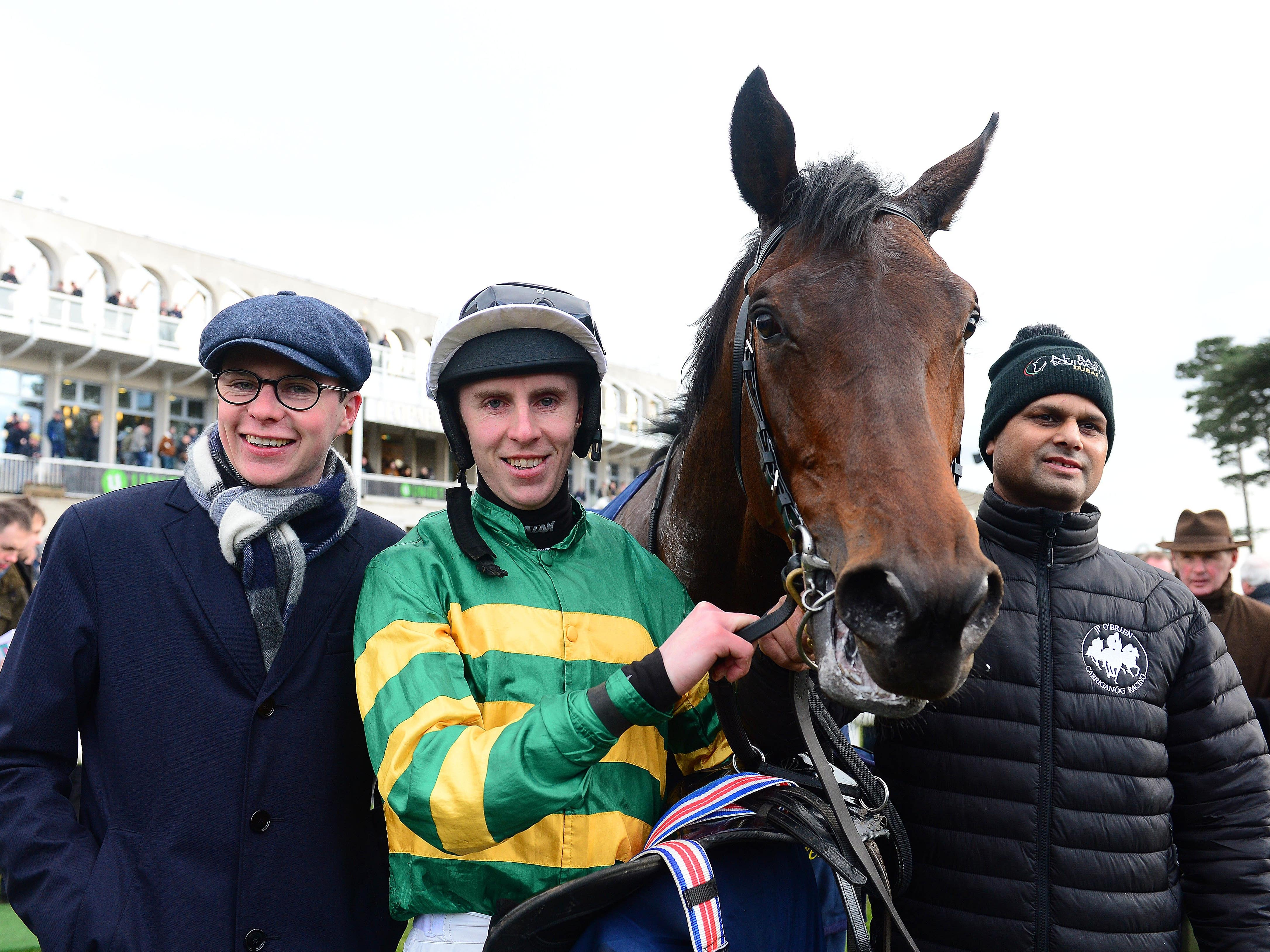 Joseph O'Brien with Sir Erec and Mark Walsh after victory at Leopardstown last month (PA)