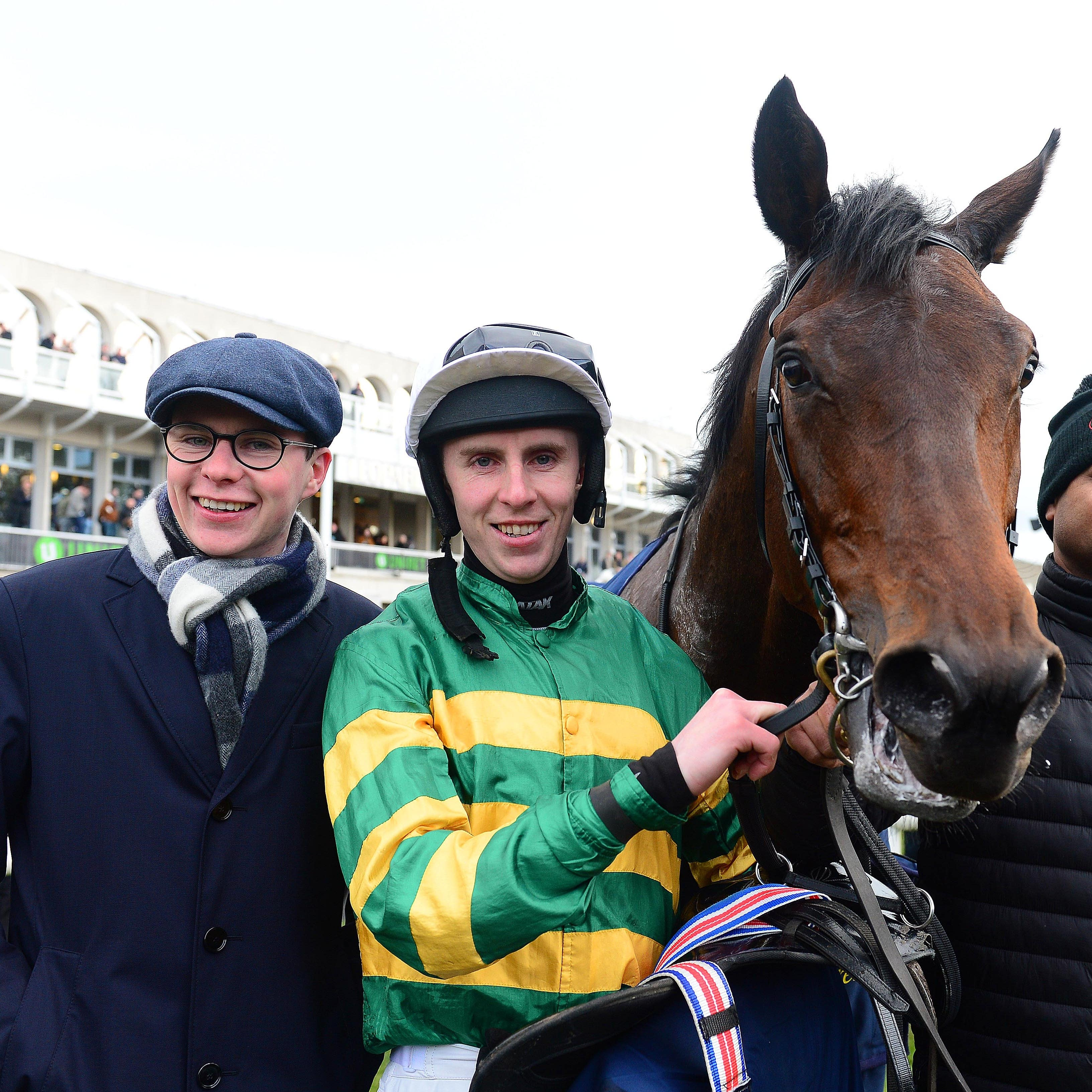 Joseph O'Brien with Sir Erec and Mark Walsh after victory at Leopardstown last month