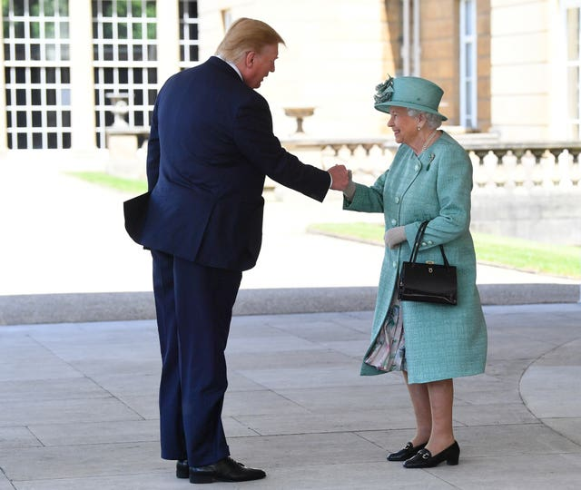 The Queen greets US President Donald Trump as he arrives at Buckingham Palace