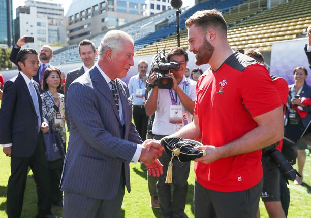 Prince Charles presented Owen Lane with his World Cup cap