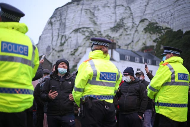 Police at the Port of Dover in Kent