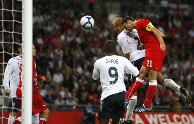 Former Manchester United defender Wes Brown scored his only England goal in a draw with the Czech Republic.